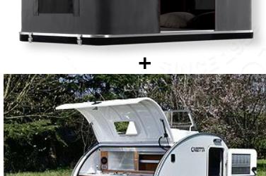Mini-caravane + Tente de toit